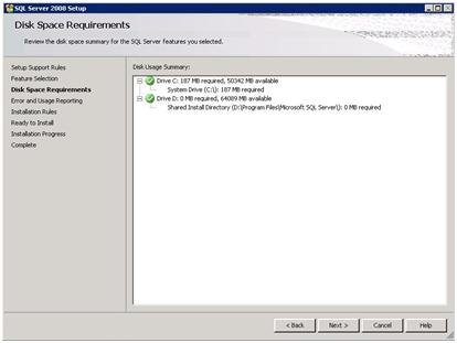 SQL Server 2008 Setup - Disk Space Requirements