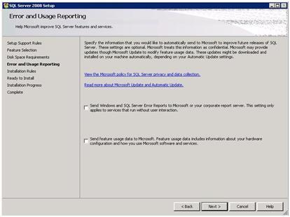 SQL Server 2008 Setup - Error and Usage Reporting