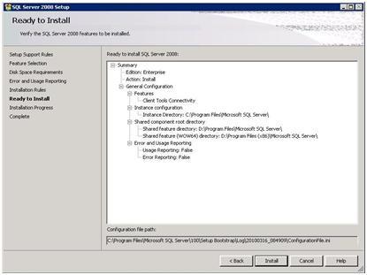 SQL Server 2008 Setup - Ready to Install