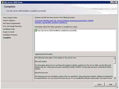 SQL Server 2008 Setup - Complete
