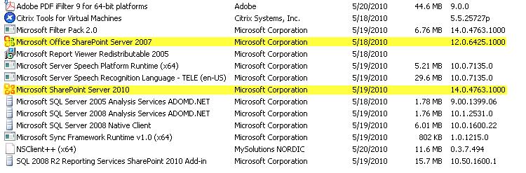 programs installed on SP Server