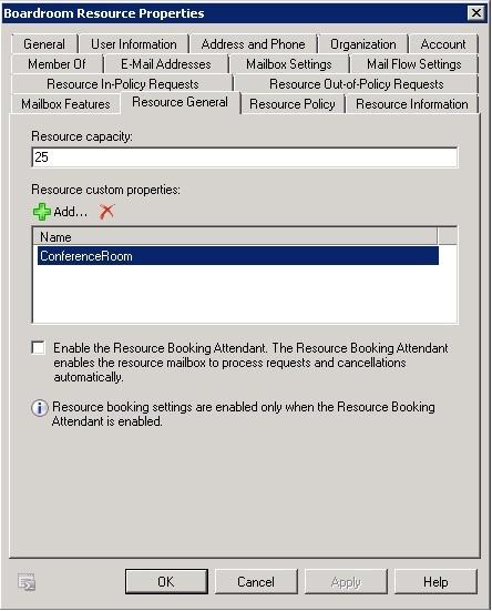 screenshot of existing resource