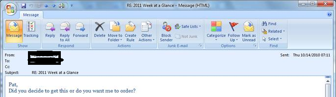 SENDERS display of the email in Sent Items