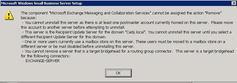SBS 2003 Error