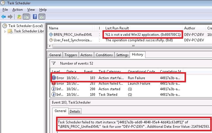 Windows 7 Task Scheduler error: