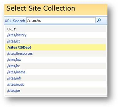 Sites URL search