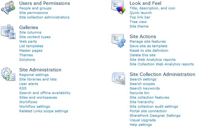 Screenshot of Site Collection Administration