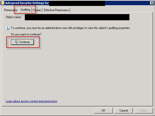 Activate folder auditing