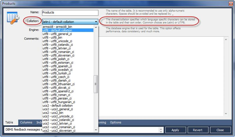 MySQL Workbench Alter Table Dialog