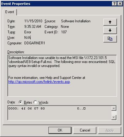 Event Viewer message