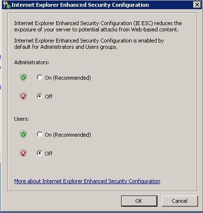 Server 2008R2 IE ESC