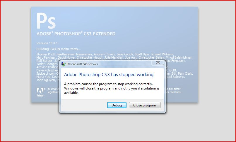 Adobe Photoshop CS3 has stopped working