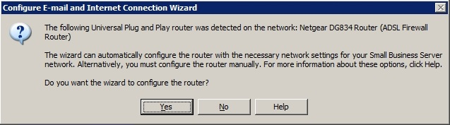 Connect Internet Wizard Router Prompt