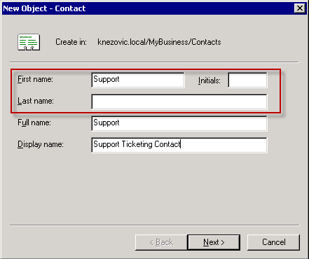 Create AD Exchange enabled contact - step 2.