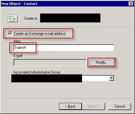 Create AD Exchange enabled contact - step 3.