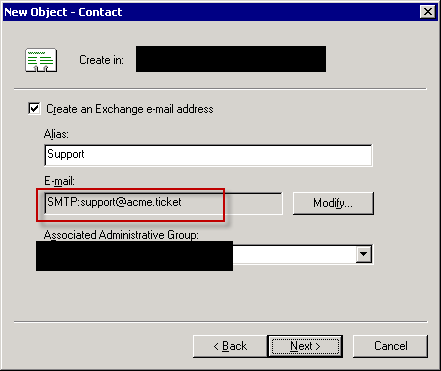 Create AD Exchange enabled contact - step 6.