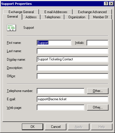 Create AD Exchange enabled contact - step 8.
