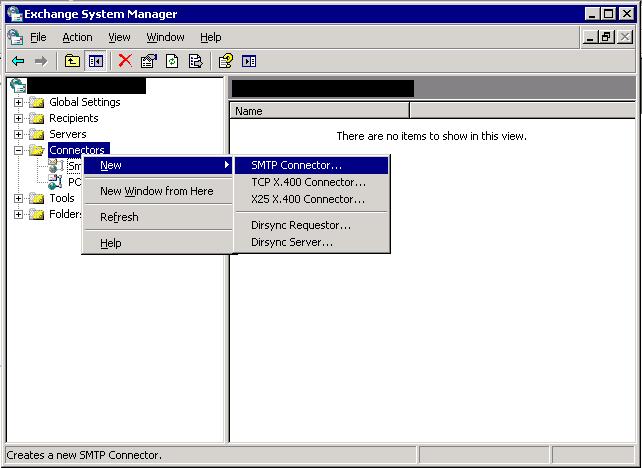 Create SMTP send connector - step 1.