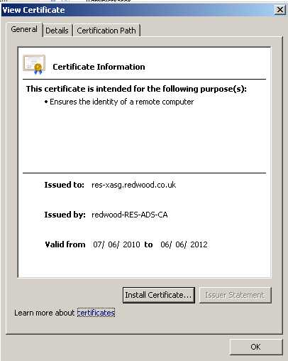 Outlook Warning Certificate