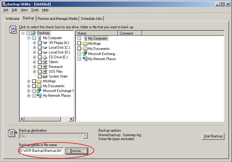 How to change the file location for the backup
