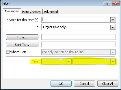 Outlook 2007 Sync Filter Time: option unavailable