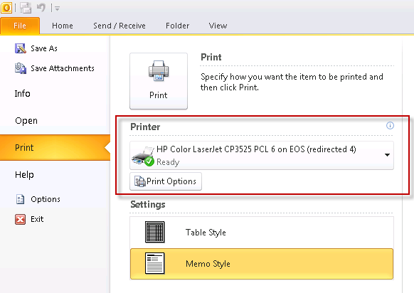 Outlook 2010 printer