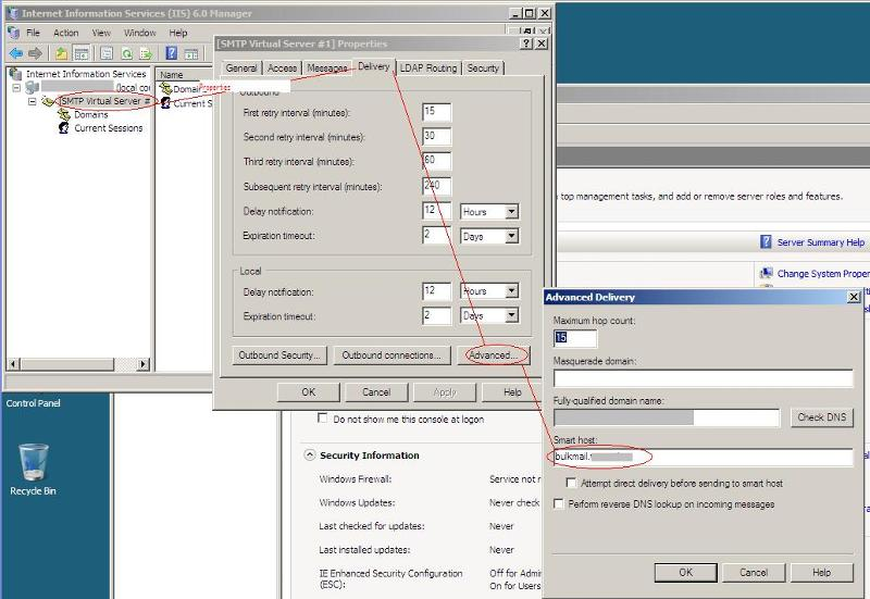 Where to find smarthost setting in the IIS 6 Manager.