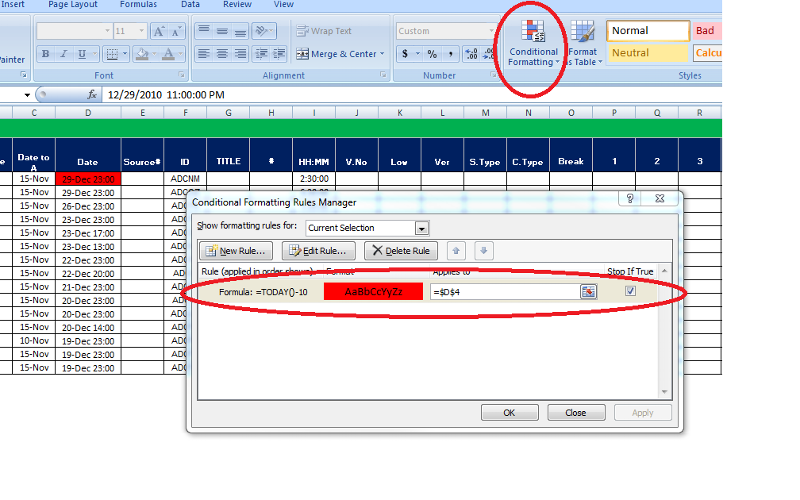 Excel conditional format