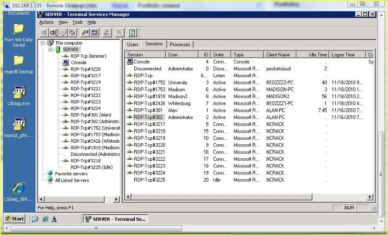 Screenshot of Phantom rdp connections
