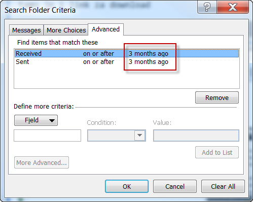 Outlook filter - mail in last 3 months.