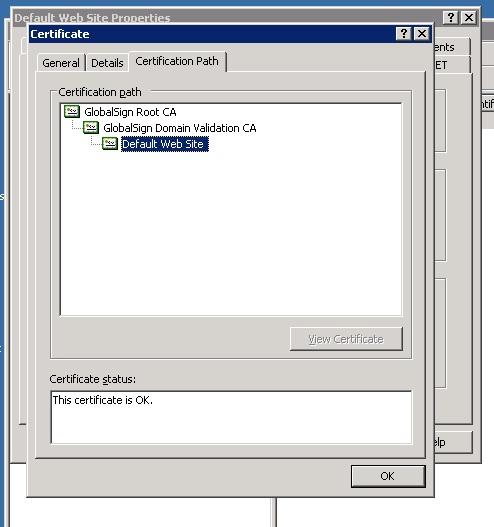 Screen shot showing the certificate status as OK
