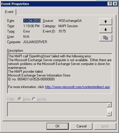 Event log error 1