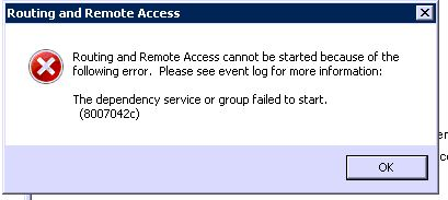 Routing and remote access error