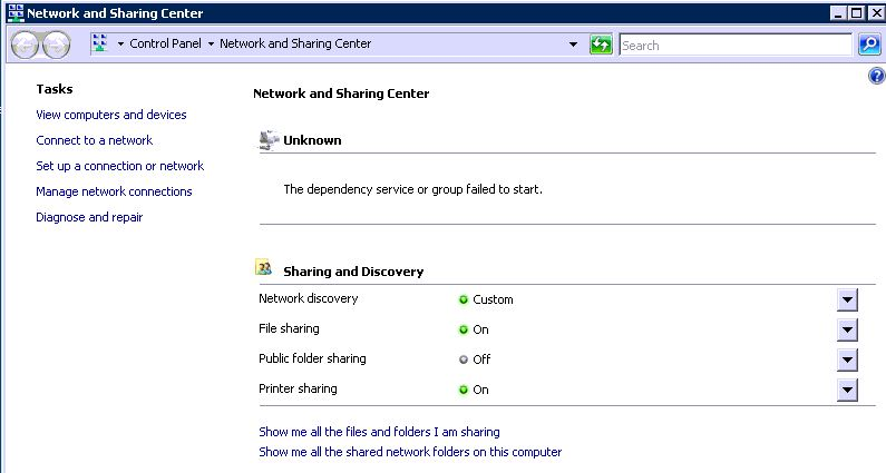Text shown in Network and Sharing Center