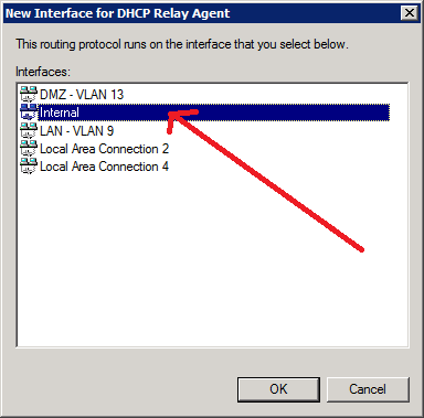 """7. Select the network adapter named """"Internal"""""""