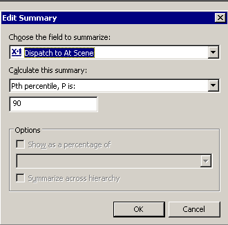 Screenshot of summary selection
