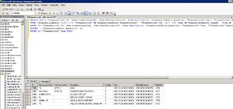 SQL Screen shot