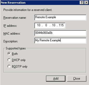 Reservation settings