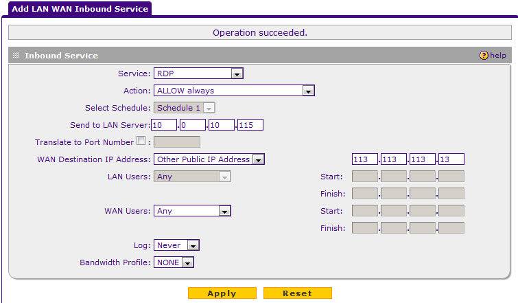 Inbound service settings