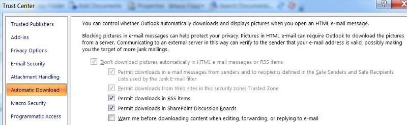 Outlook Tust Center Settings