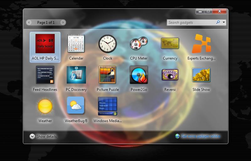 Screenshot of gadget window with new gadget