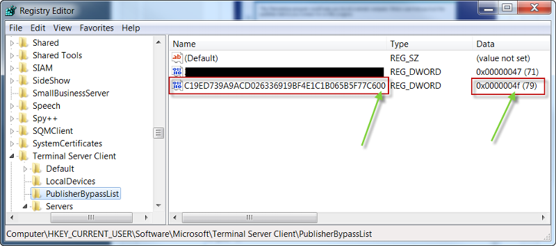 PublisherBypassList in Registry