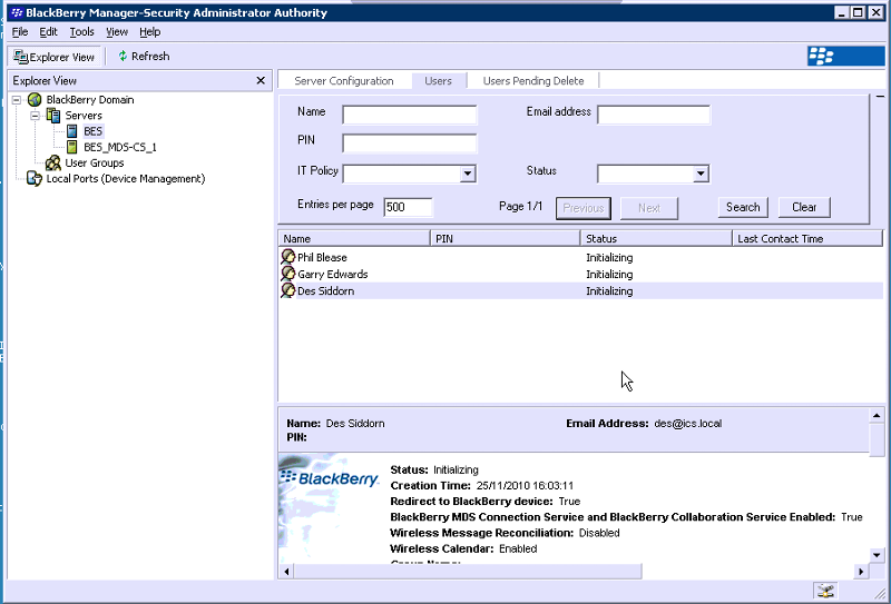 Screen grab of BB Server management screen
