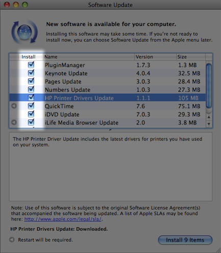 Software Update window with highlighted checkboxes
