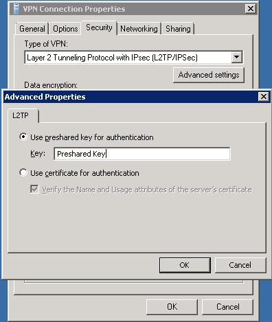 Windows 7 L2TP settings