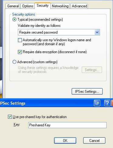 Windows XP L2TP IPSec settings