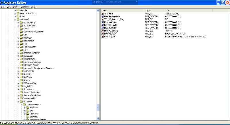 and default user registry hive with the proxy server.  hitman removes it from here also.