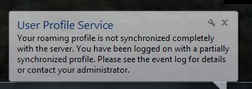 User Profile Warning Message
