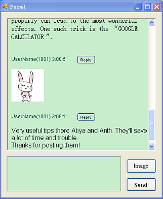 Demo -- shows images in an IM chat box