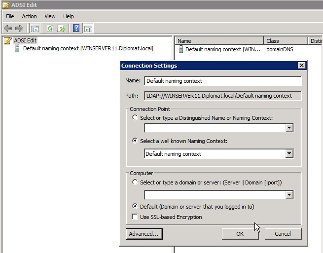 ADSI from Winserver8